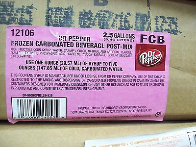 Dr.Pepper Post Mix Fountain Syrup 2.5 Gallon Exp. 09/07/16