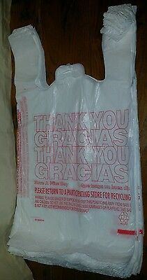 50ct Large 1/6 Thank You T-shirt Plastic Grocery Shopping Bags With Handle