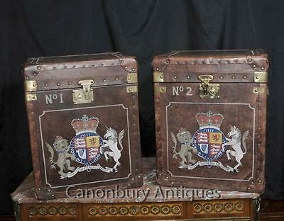 Pair Steamer Trunk Leather Luggaage Boxes Cases Side Tables • £1,147.50