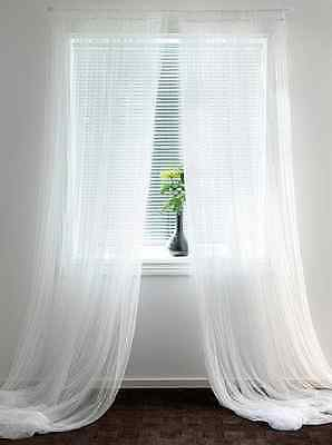 """1-Pc Sheer Voile Solid White Curtain Panel Length: 36, 63, 84, 95, 108"""" Long"""