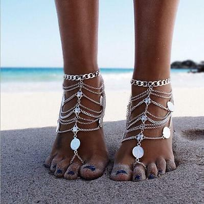 Hot woman's Bohemian Style silver multilayer coin flower charm Anklet Bracelet
