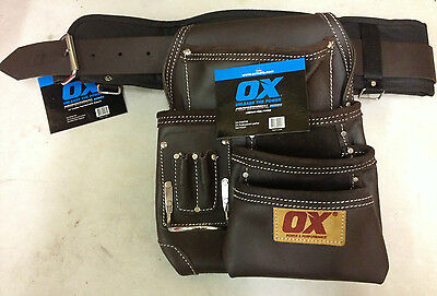 OX Professional Leather Tool Pouch Nail bag  Pouch with Support 36'' tool belt