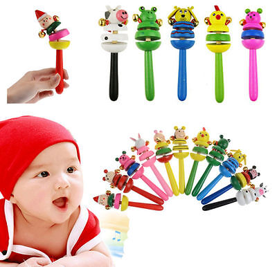 New Baby Kid Wooden Musical Instrument Toy Rattle Jingle Hand Bell Ring Gift