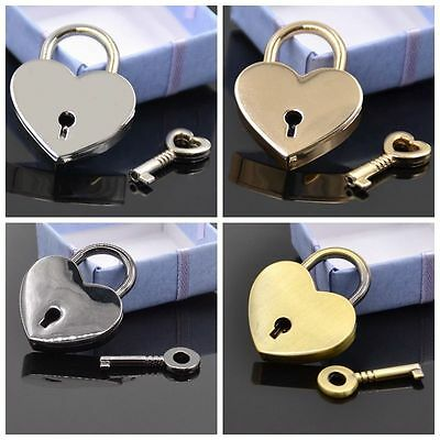 Mini Padlock Heart Shape Luggage Case Padlock With Key Gold Silver Black Cute1PC