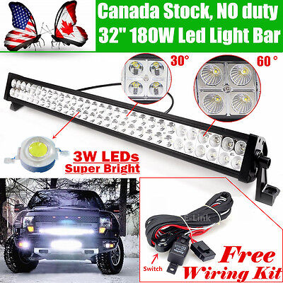 32 inch Led Work Light Bar 180W Flood Spot Combo Driving SUV 4WD Jeep Offroad 30