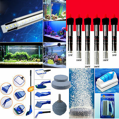 Aquarium Fish Tank LED Lights Submersible Water Heater Pump Filter Air Stone
