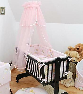 Baby Canopy + Holder For Rocking Crib / Swinging Crib / Moses Basket  - Pink