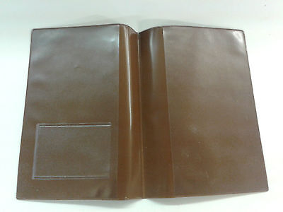 Brown Leather Look Mot Holder / A4 Holder With Clear On Outside