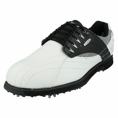 Hi Tec 'Dri Tec G 300' Men's White/Black Leather/Synthetic Lac Up Golf Trainers