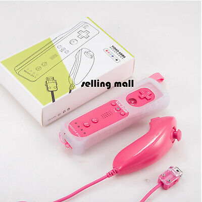 Built in Motion Plus Remote Controller and Nunchuck For Wii/ Wii U Games Pink
