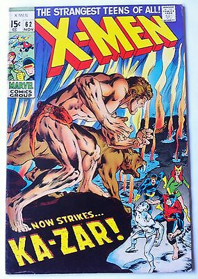 X-Men 62 marvel 1969 X-Men Battle Kaz-Zar Neal Adams Art high grade