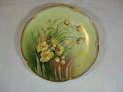 J & C Louise Bavaria Plate Yellow Flowers Gold Trim Initialed on Front T.K.H.