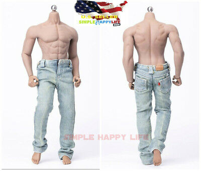 "1/6 Light Color Jeans Pants Cloth For 12"" Male Doll hot toys Phicen M33 ❶USA❶"