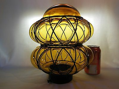 """Vintage Amber Glass Iron Caged Globe Shade for Ceiling Light Fixture 11"""""""