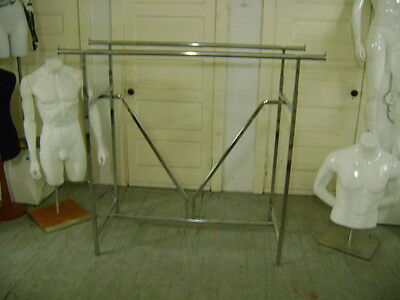 Retail H Rack Double Chrome Adjustable Garment Rack