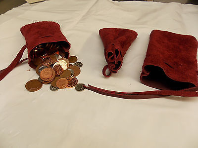 Medieval/Larp/SCA/Pagan/Reenactment Claret Leather DRAWSTRING MONEY POUCH/ BAG
