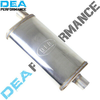 "2.25"" STAINLESS STEEL STRAIGHT THROUGH MUFFLER 9"" x 4"" OVAL 18"" LONG OFFSET/CENT"