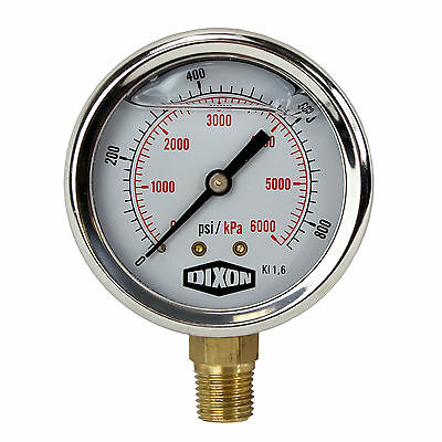 "Water and Air Pressure Gauge New 1/4"" Brass BSPT Thread 0 - 860psi / 6,000kpa"