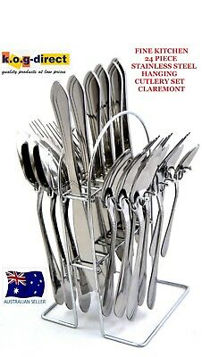 FINE KITCHEN 24 Piece Stainless Steel Hanging Cutlery Set CLAREMONT NEW HW53
