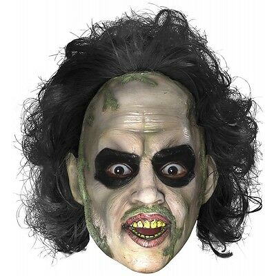 Beetlejuice Mask with Hair Adult Mens Funny Ghost Halloween Costume Accessory