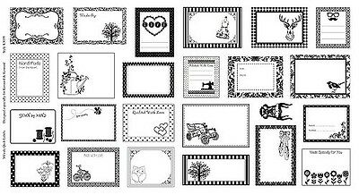 Black & White Quilt Gift Label Patchwork Fabric Panel - 23 assorted labels