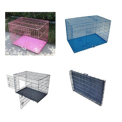 2 Door Pet Cage Folding Dog Cat cage Crate Kennel ABS Tray Metal Wire 3 color