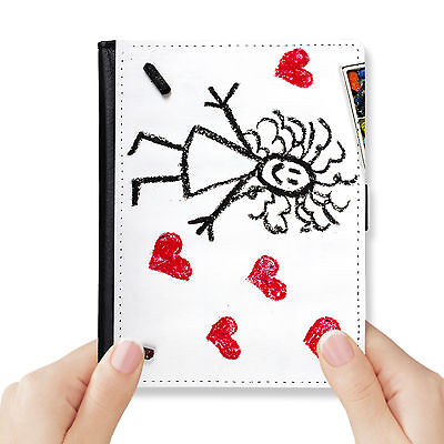 Child Painting Genuine Leather Rfid Blocking Passport Cover Wallet Organizer