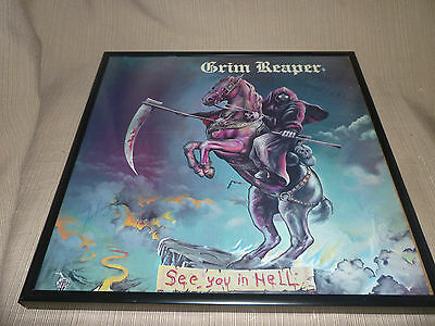 "Signed Autographed Grim Reaper ""See you in Hell"" Framed LP"