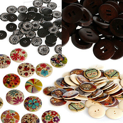 50/100pcs Mixed Pattern Round Wooden Wood Sewing Buttons Scrapbooking Craft DIY