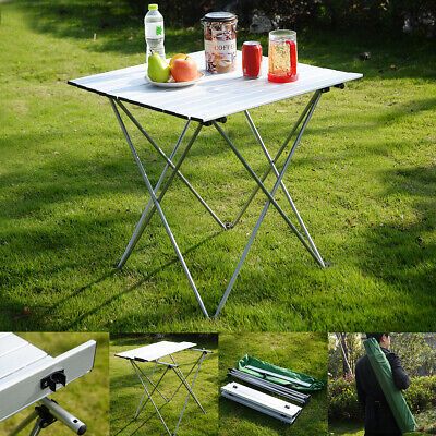 Aluminum Roll Up Table Folding Camping Outdoor Indoor Picnic W/ Bag Heavy Duty
