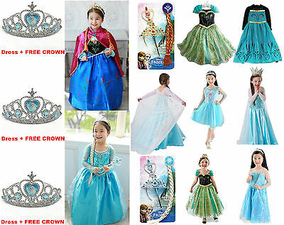 Disney FROZEN Princess Anna Elsa Queen Girls Cosplay Costume Party Formal 3~8
