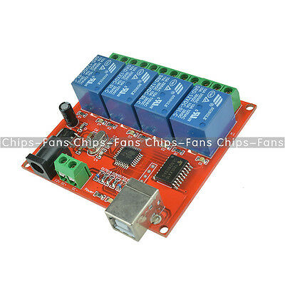 12V USB Relay 4 Channel Programmable Computer Control For Smart Home New