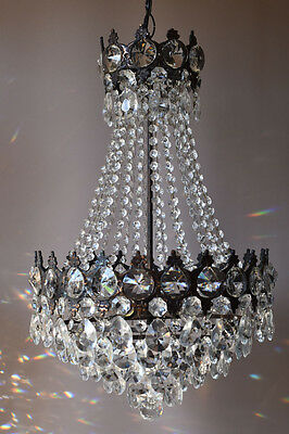 1940's Lustre Antique Pendant French Crystal Chandelier Home Lighting Old Lamp • CAD $909.30