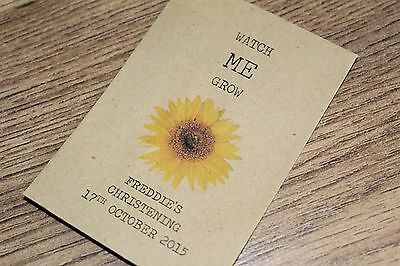 Personalised Seed Packets Envelopes Christening Favours Colour Vintage Sunflower