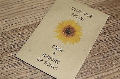 Personalised Seed Packets Envelopes Favour In Memory Funeral Sunflower Memorial