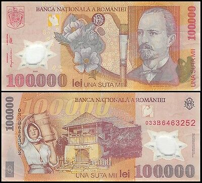 Romania 100,000 (100000) Leu (Lei), 2003, P-114, Circulated, USED