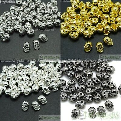 Side Drilled Metal Skull Bracelet Necklace Earring Connector Charm Spacer Beads