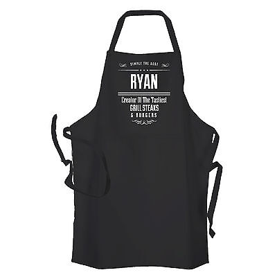 Personalised Black Mens BBQ & GRILL Cooking  Apron by Inspired Creative Design