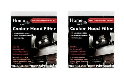 2 x Large Universal Cooker Hood Filter Pad Extractor Fan Washable Cut To Size