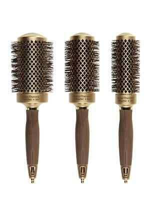 Olivia Garden Round Nano Thermic Ceramic Ion 3 Brushes Kit with Carry-on Bag