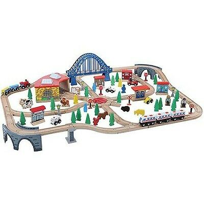 Train Set 120 PC Wooden Toys Track Railway Kids #50074 - NEW OTHER