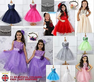 Girls Sequinned Dress Flower Sash Formal Party Wedding Bridesmaid Princess Dance