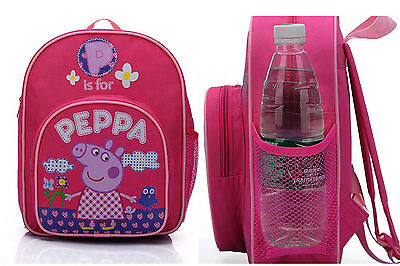 Peppa Pig Girls School Bag Pink Travel Backpack Rucksack *WATER BOTTLE POCKET*
