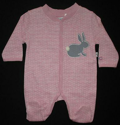 Baby Girls Bodysuit Romper Pink JUST HATCHED Bunny Long Sleeve Legs Sz 0000 NEW