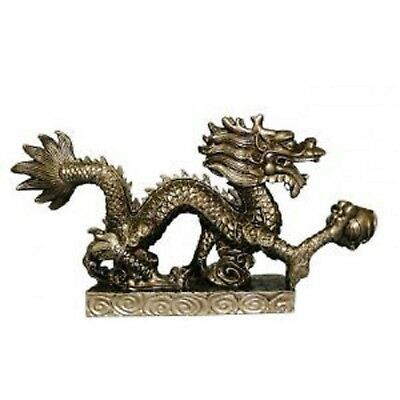 Bronze Dragon statue on small stand holding pearl of wisdom in claw (AN154BS)