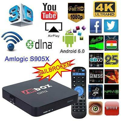 4K Quad Core Android 6.0 TV Box KODI 16.1 Fully Loaded Wifi Free Sports Movies