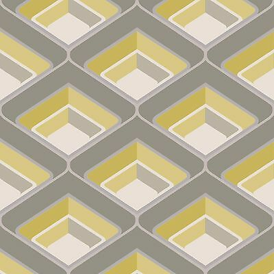 Geo Grey and Yellow Retro Wallpaper Textured Modern Feature A16001