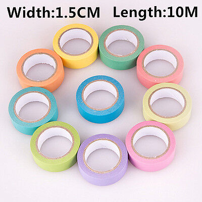 NEW 1.5CMX10M DIY Rainbow Washi Sticky Paper Adhesive Decorative Tape Scrapbook