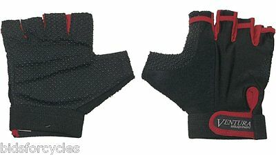 Ventura Bicycle Bike Cycle Fingerless Gel Non-Slip Gloves - Red - All Sizes