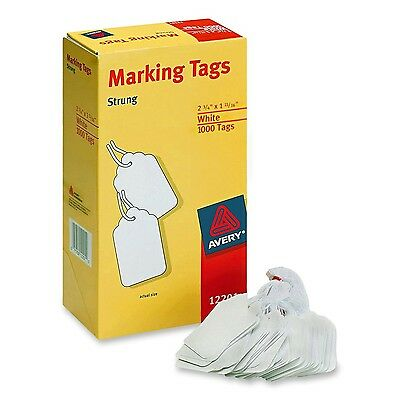 Avery White Marking Tags Strung 2.75 x 1.68 Inches Pack of 1000 (12201) 1-Pack